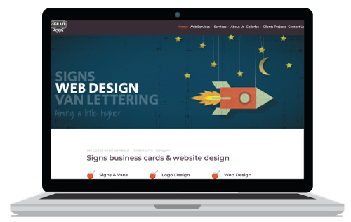 Website Design Header in blue with rocket on the Newton Abbot Website Design page