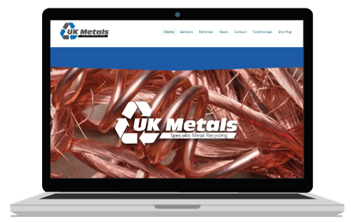 Website banner sample in copper showing our Recycle website designed in Newton Abbot