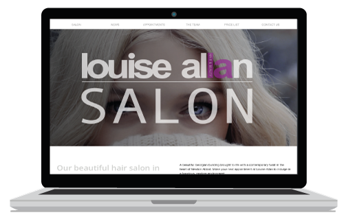 Hair salon website sample banner showing lady