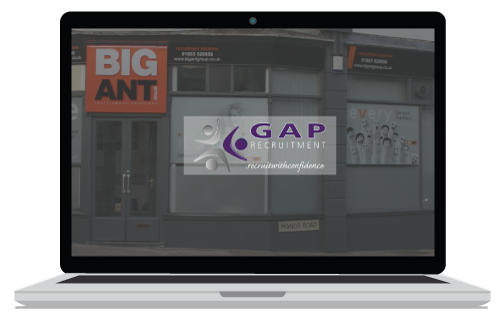 Gap Agency website site sample banner for website design adverts in Newton Abbot